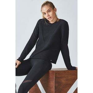 Fabletics Quilted Long Sleeve Sweatshirt Black XL